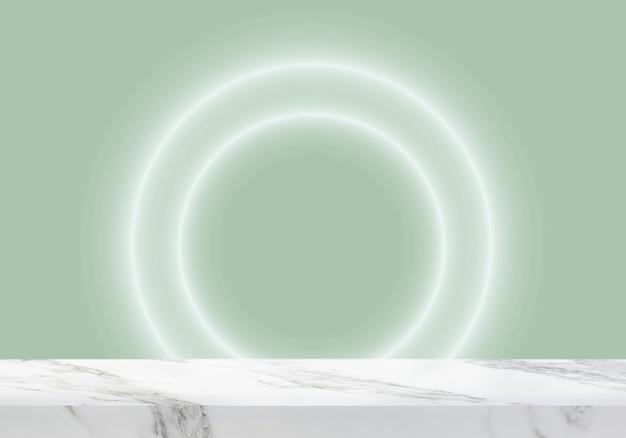 Pusty marmurowy stół z okrągłymi światłami na zielonym tle produktu w tle