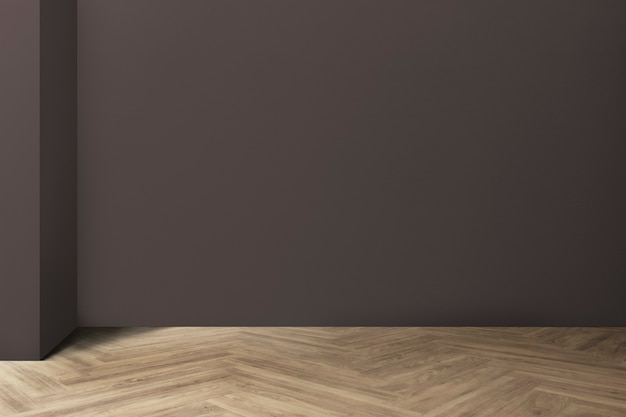Pusty minimalistyczny wystrój wnętrza pokoju z podłogą z rybich kości