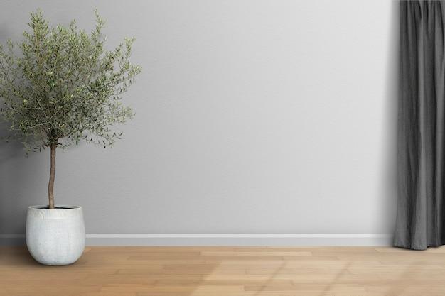 Pusty minimalny pokój z szarą ścianą i zasłoną