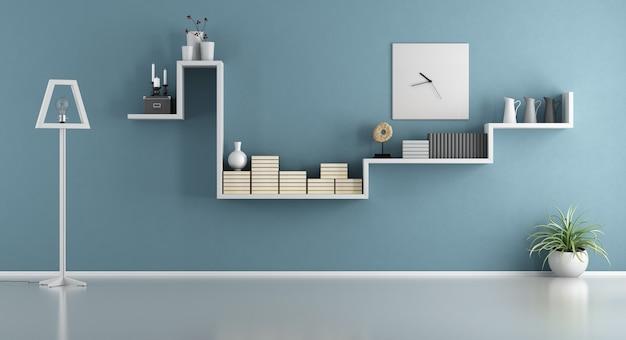 Pusty niebieski salon z półką i lampą podłogową. renderowanie 3d