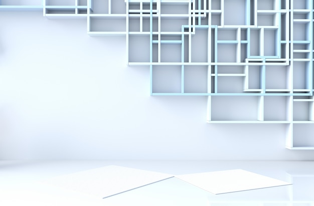 Pusty niebiesko-biały wystrój pokoju z niebieską ścianą półek, renderowania 3d
