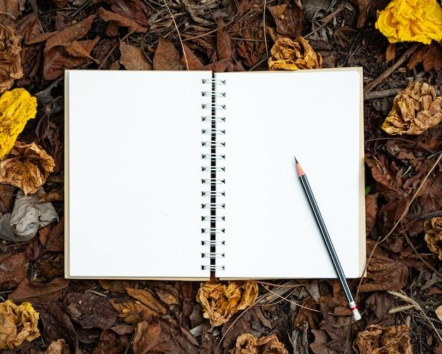 Pusty notatnik i ołówek umieszczone na żółtym, czerwonym, pomarańczowym liściu i jesienne suszone kwiaty w widoku z góry tło jesień natura
