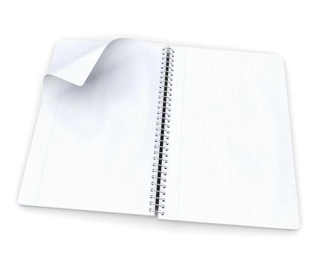 Pusty notatnik w kratkę ze stroną, która ma się przewrócić