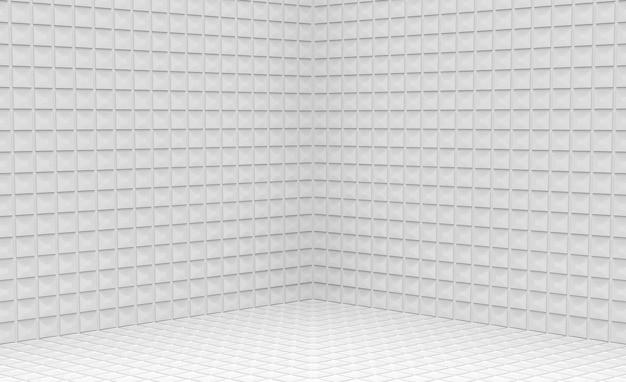 Pusty nowoczesny mały kwadratowy wzór siatki płytki ceramiczne narożny projekt ściany