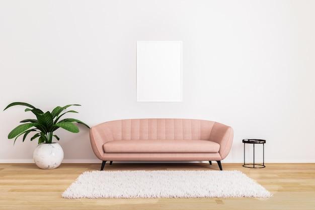 Pusty obraz lub plakat w różowej kanapie z czarnym stolikiem do kawy i roślin w jasnym salonie