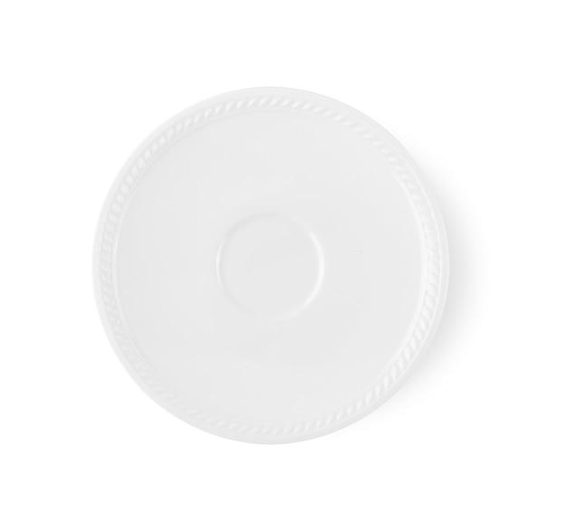 Pusty okrągły talerz ceramiczny na białym tle na białym tle. widok z góry