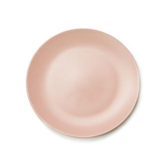 Pusty okrągły talerz dla dań głównych na białym tle