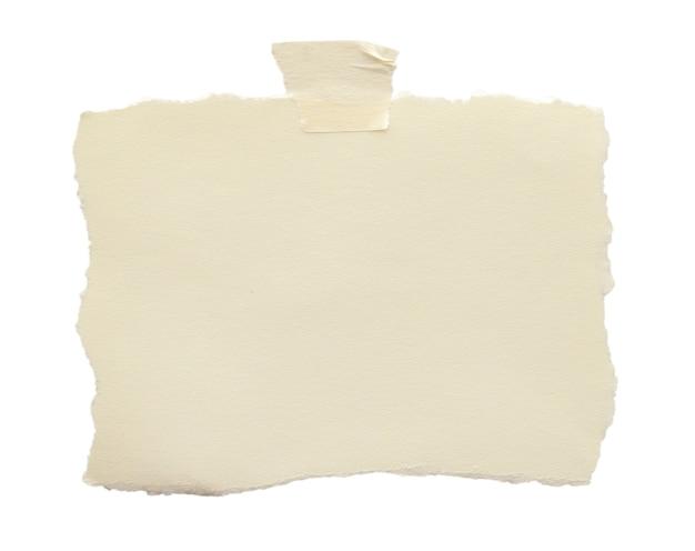 Pusty papier firmowy z taśmą klejącą na białym tle