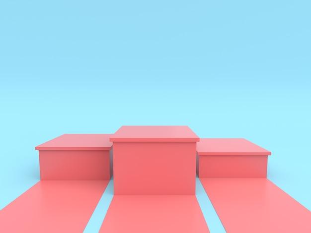 Pusty pastelowy różowy zwycięzcy podium na pastelowym błękitnym koloru tle