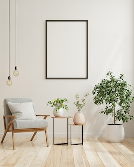 Pusty plakat w nowoczesnym wystroju wnętrz salonu z białą pustą ścianą. renderowania 3d