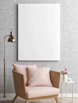 Pusty Plakat Z Abstrakcyjną Sceną Wnętrza Fotela Premium Zdjęcia
