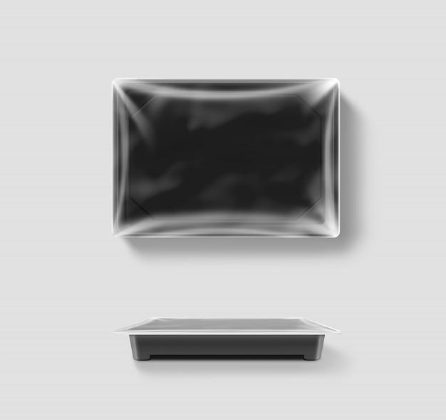Pusty plastikowy jednorazowy pojemnik na żywność z folią