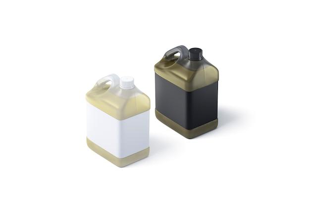 Pusty plastikowy pojemnik na olej z czarno-białą etykietą, renderowanie 3d.