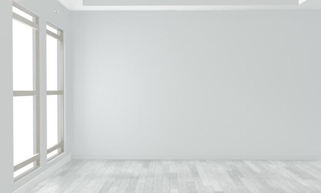 Pusty pokój biała ściana na białej drewnianej podłodze. renderowanie 3d