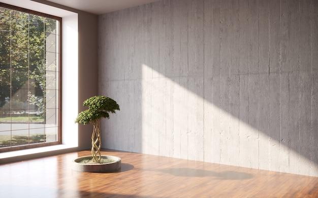 Pusty pokój czarny tynk ściana z drzewem bonsai w doniczce szablon projektu renderowania 3d