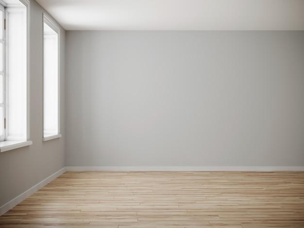 Pusty pokój dla makiety. pusty roon z lekką ścianą i drewnianą podłogą. renderowania 3d