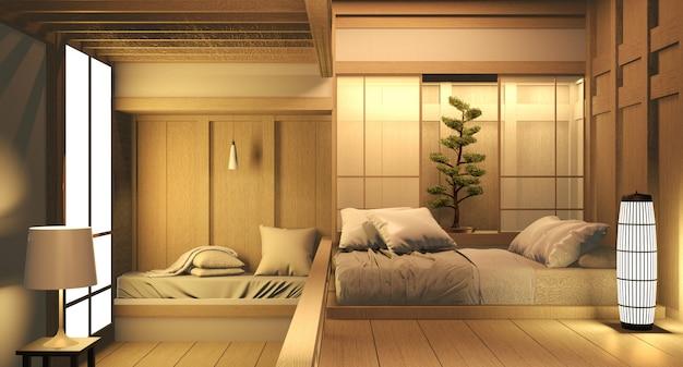 Pusty pokój drewno na drewnianej podłodze japoński projekt wnętrz. renderowania 3d