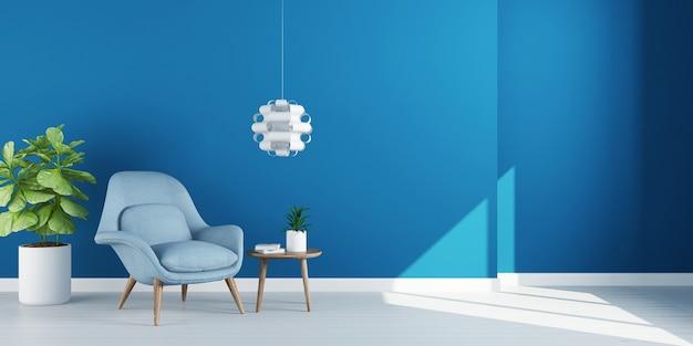 Pusty pokój dzienny z fotelem na pustej niebieskiej ścianie