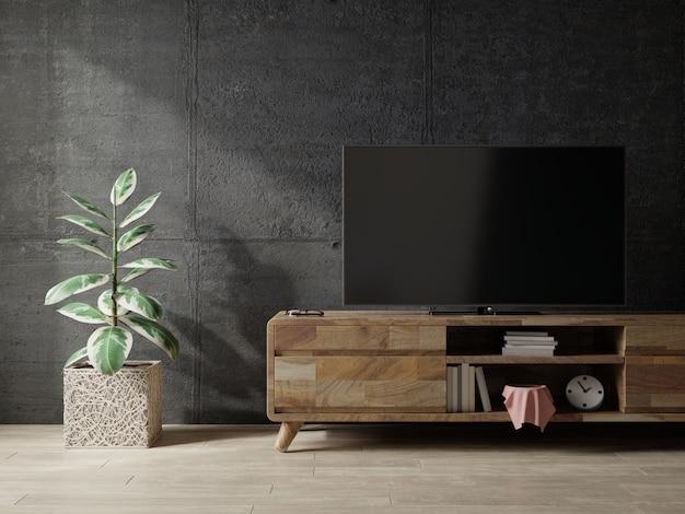 Pusty pokój na poddaszu z szafką tv na ciemnym betonowym wnętrzu background.3d renderowania