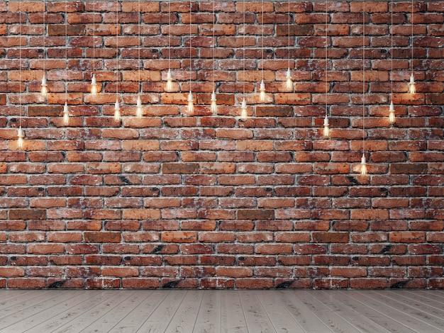 Pusty pokój na tle cegły prezentacji z żarówkami