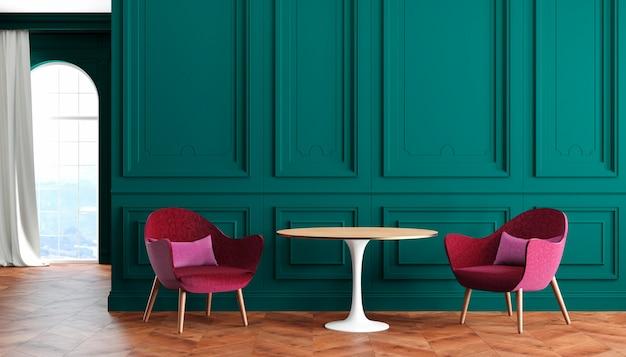 Pusty pokój nowoczesne klasyczne wnętrze z zielonymi ścianami, czerwonymi, bordowymi fotelami, stołem, zasłoną i oknem. ilustracja renderowania 3d.