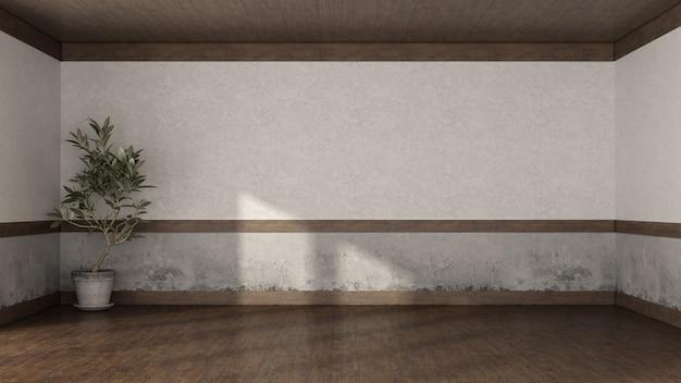 Pusty pokój retro ze starymi ścianami, drewnianą podłogą i drewnianym sufitem - renderowanie 3d