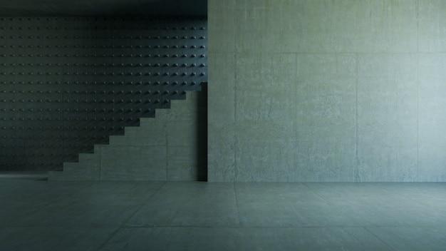 Pusty pokój, schody betonowe i ściana cementowa. abstrakcyjne tło architektury