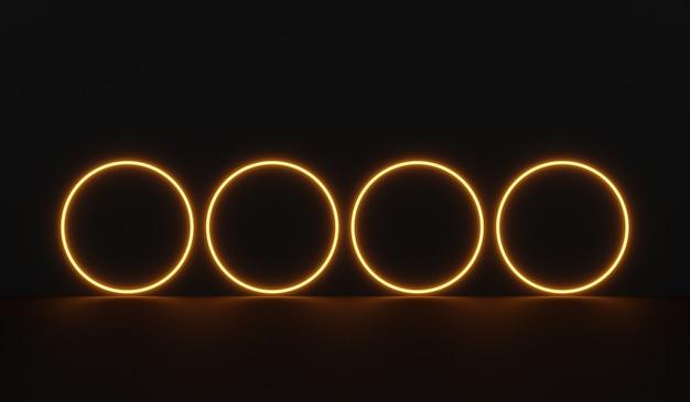Pusty pokój science fiction z okrągłą pomarańczową neonową rurką świecącą światłem