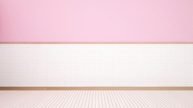 Pusty pokój w domu lub hotelu na białej ceramicznej ścianie i różowej ścianie