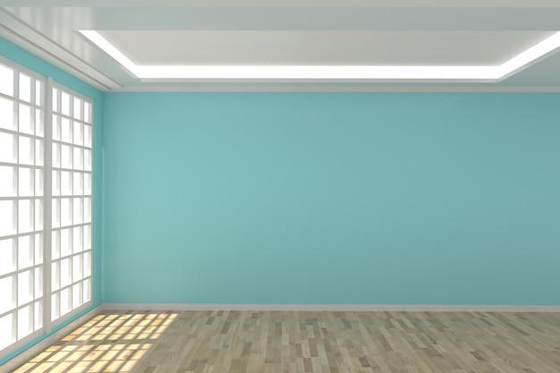 Pusty pokój w niebieską ścianą w renderingu 3d