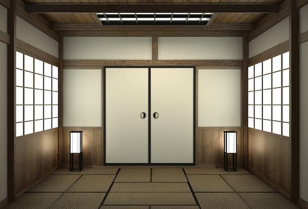 Pusty pokój w stylu japońskim z drzwiami w stylu japońskim.
