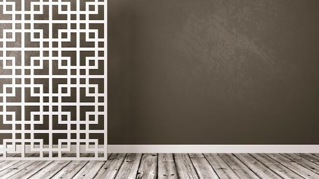 Pusty pokój w stylu orientalnym na białym tle