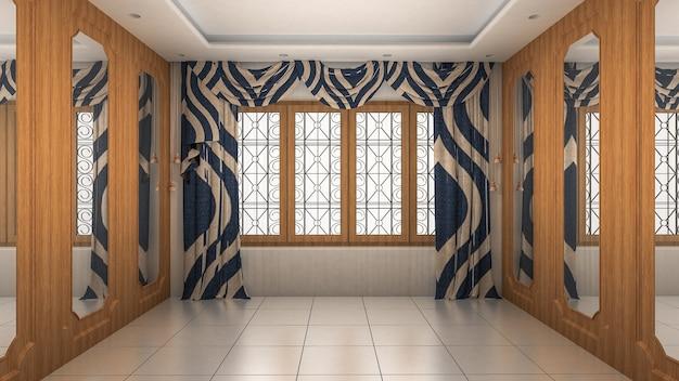 Pusty pokój wnętrze nowoczesny i luksusowy styl. renderowanie 3d