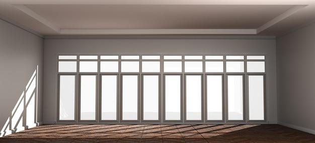 Pusty pokój wnętrze tło z drzwi. 3d rendering