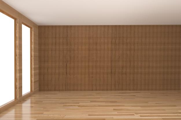 Pusty pokój wnętrze twardego drewna w renderingu 3d