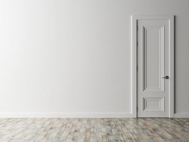Pusty pokój z białymi drzwiami