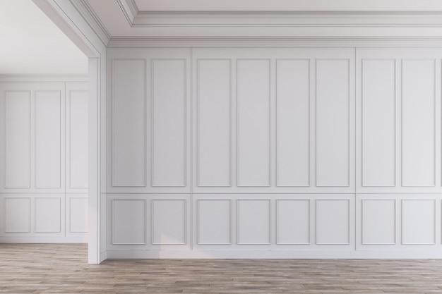 Pusty pokój z białymi panelami i drewnianą podłogą