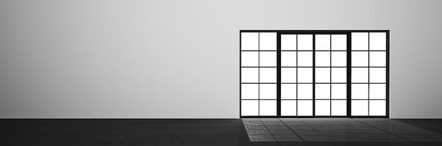 Pusty pokój z drzwiami, renderowania 3d z miejsca na kopię.