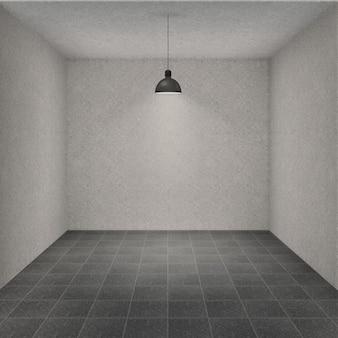 Pusty pokój z lampą