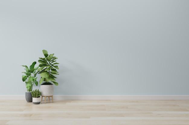 Pusty pokój z makietą roślin ma drewnianą podłogę, renderowanie 3d