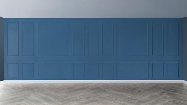 Pusty pokój z niebieską wzorzystą ścianą