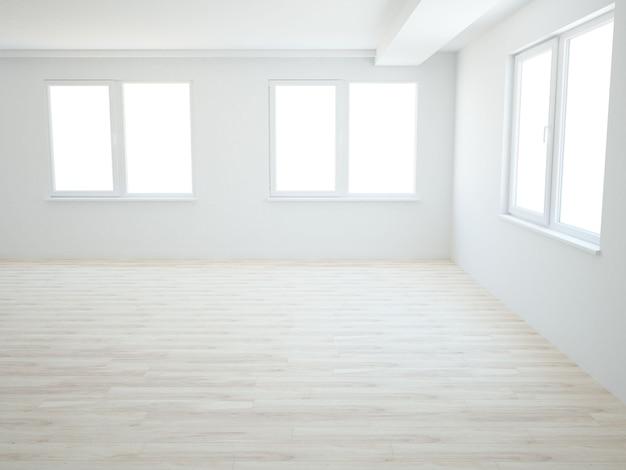 Pusty pokój z oknami i drewnianą podłogą