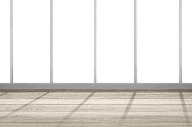Pusty pokój z oknem i drewnianą podłogą na białym tle