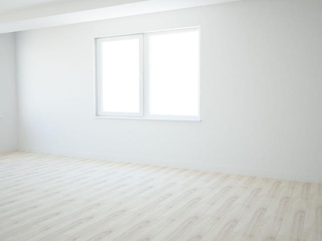 Pusty pokój z oknem i drewnianą podłogą