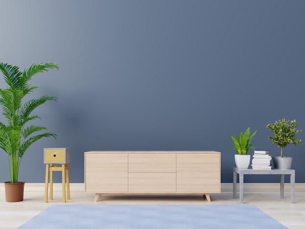 Pusty pokój z szafkami i półkami z tylną ciemną ścianą, 3d rendering