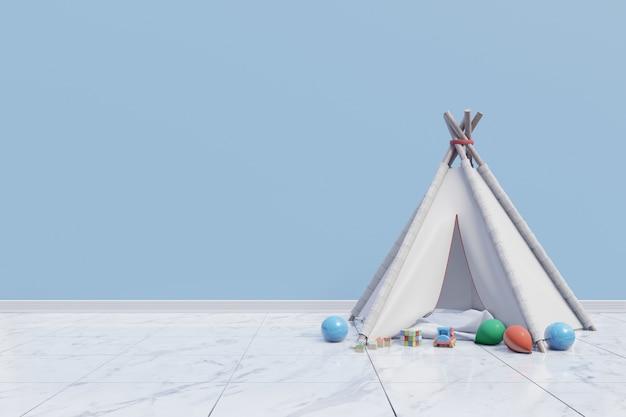 Pusty pokój zabaw dla dzieci z namiotem i zabawka na niebieskim tle ściany