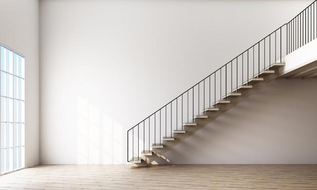 Pusty pokój ze schodami i oknem