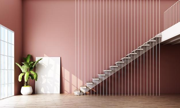 Pusty pokój ze schodami, rośliną i oknem