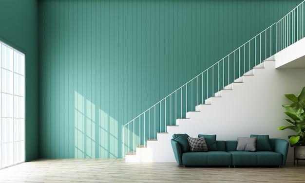 Pusty pokój ze schodami, sofą i oknem