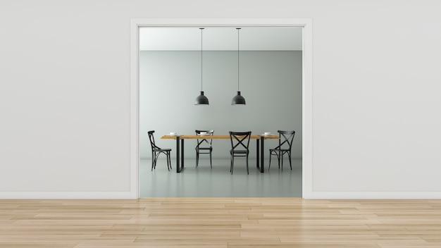 Pusty pokój ze stołem na poddaszu i krzesłami